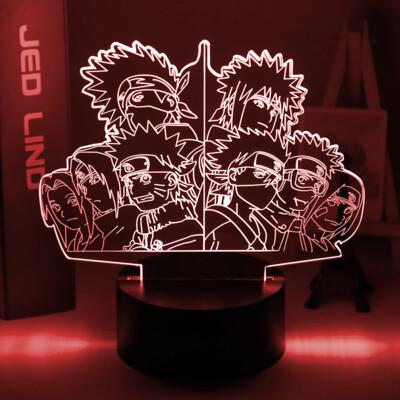 Japanese Anime Naruto Team 7 Obito Uchiha Kakashi Hatake 3D Night Light Table Lamp