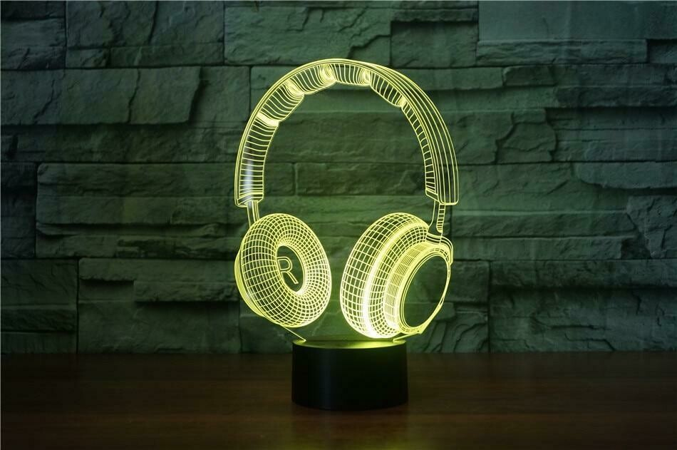 Headphones 3D Night Light Table Lamp