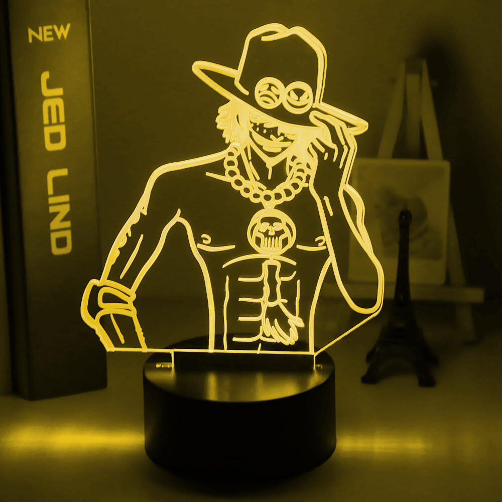 Anime One Piece Portgas D Ace 3D Night Light Table Lamp