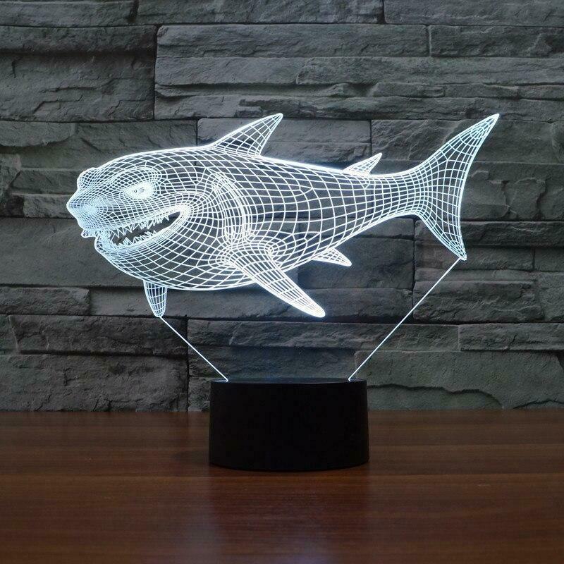 Shark 3D Night Light Table Lamp