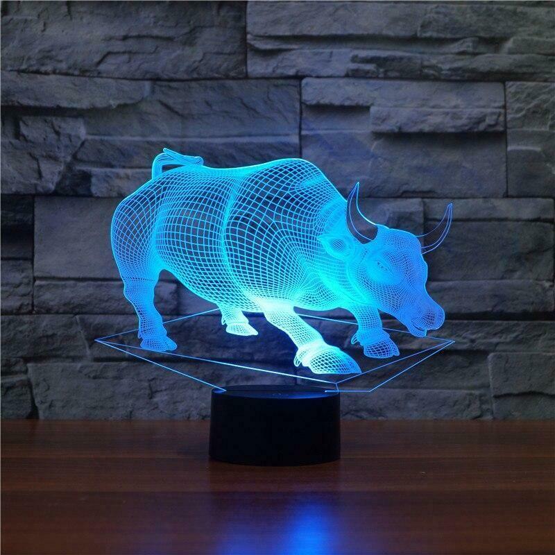 Raging Bull 3D Night Light Table Lamp