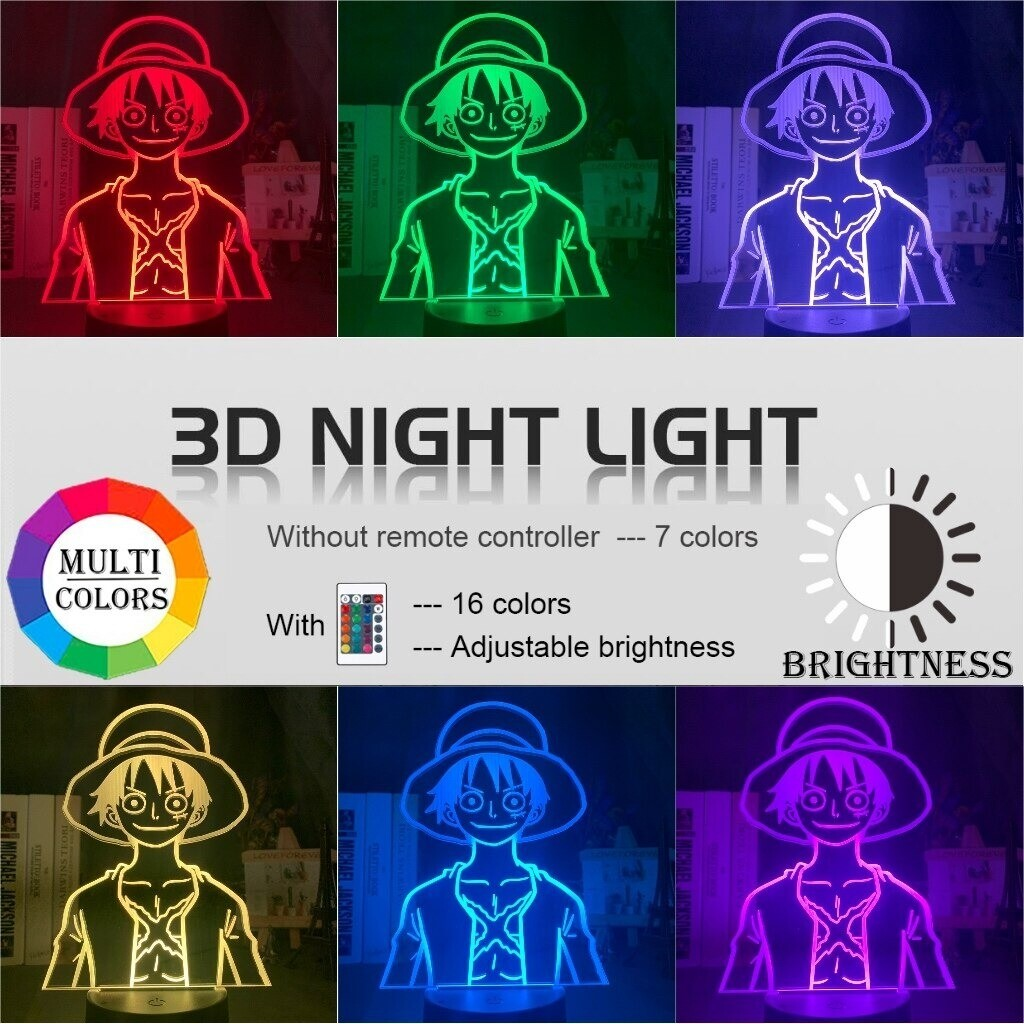 One Piece Monkey D Luffy 3D Night Light Table Lamp