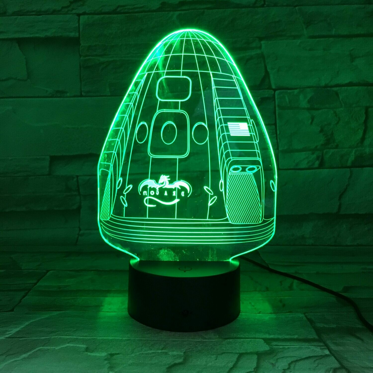 Space X Crew Dragon 3D Night Light Table Lamp