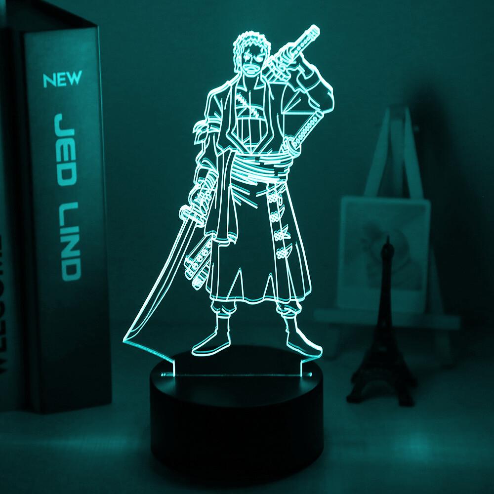 Roronoa Zoro Figure Japanese Anime One Piece 3D Night Light Table Lamp