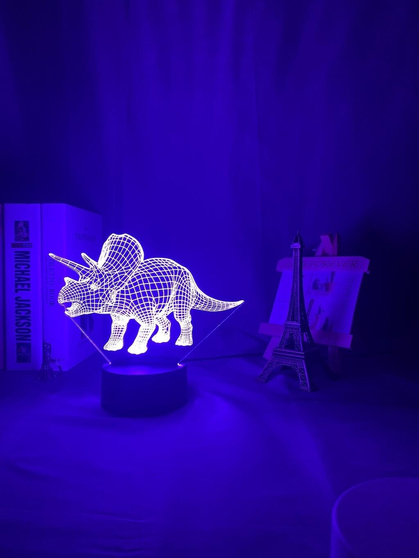 Dinosaur Triceratops 3D Night Light Table Lamp