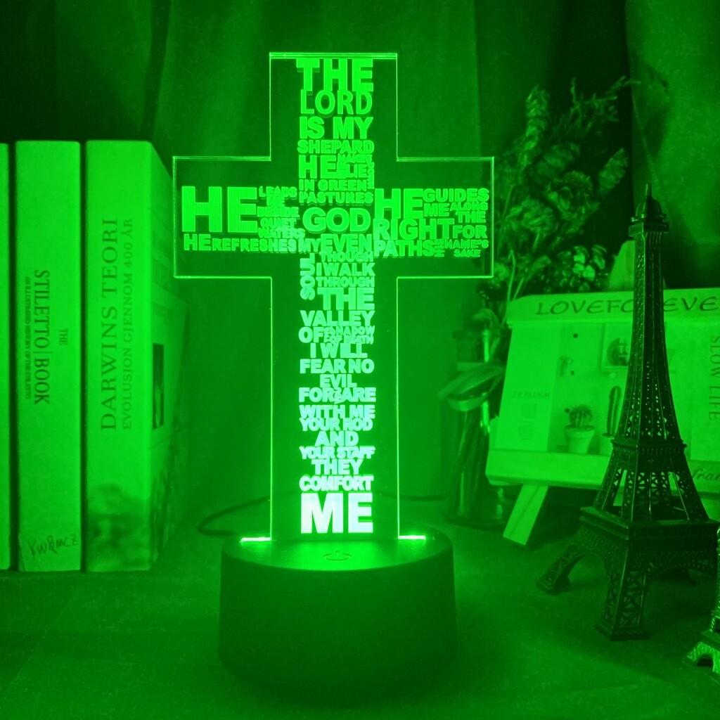 The Holy Bible Psalm Poem Christian Cross - 3D Night Light Table Lamp