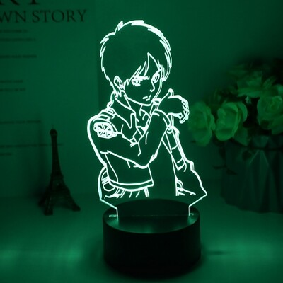 Eren Yeager Figure Attack on Titan Gift - 3D Night Light Table Lamp