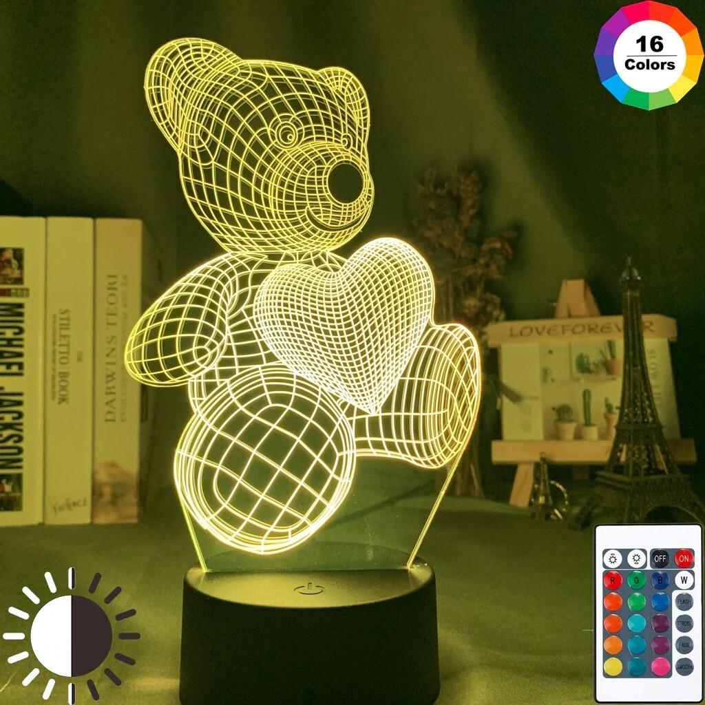 Bear with Heart 3D Night Light Table Lamp