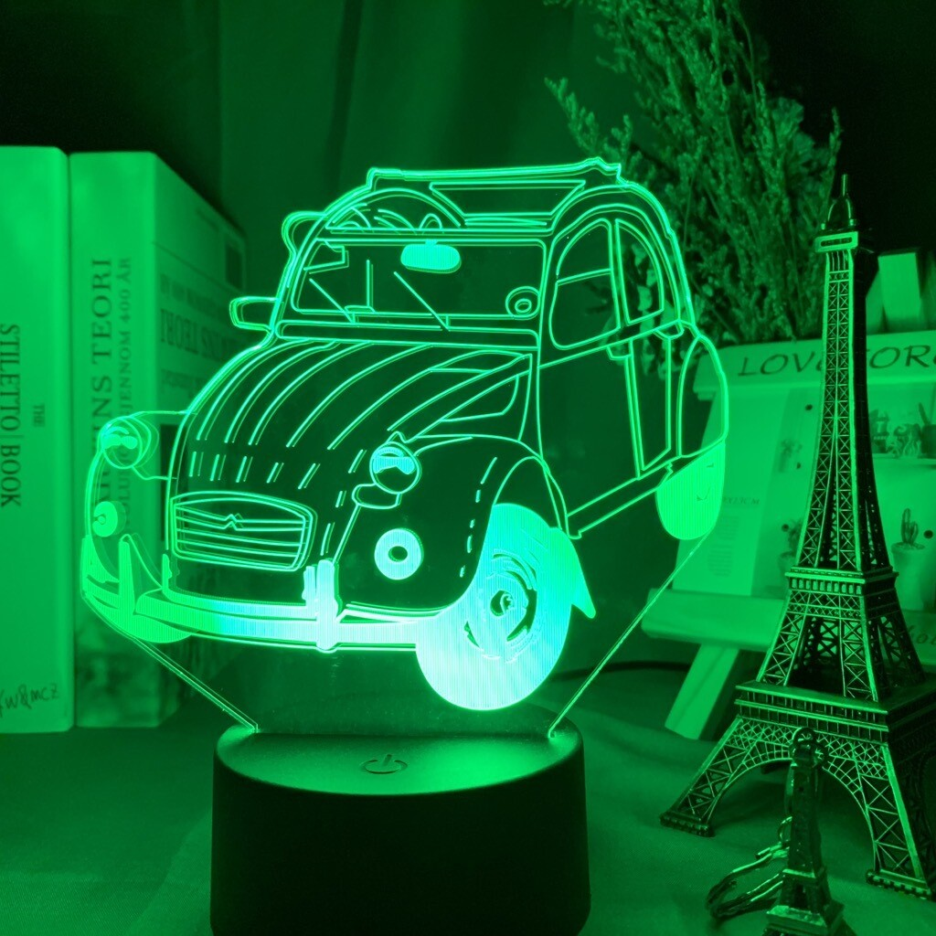 Vintage Car 2cv Classic - 3D Night Light Table Lamp