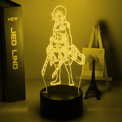 Attack on Titan Mikasa Ackerman Figure - 3D Night Light Table Lamp