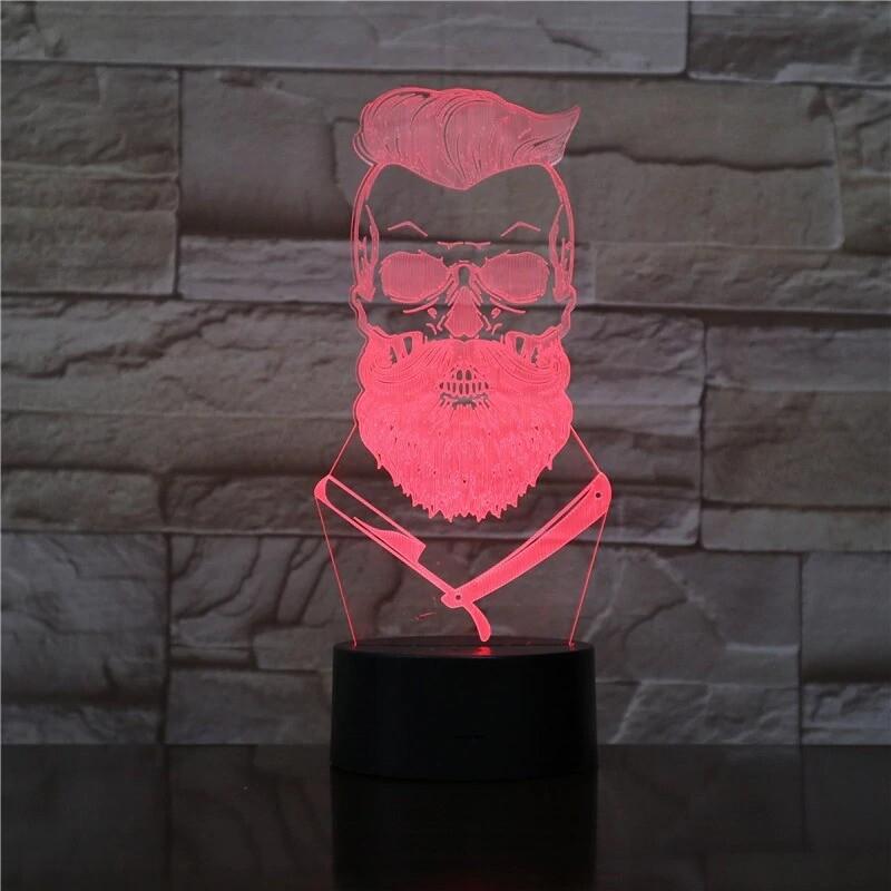 Barber Skull - 3D Night Light Table Lamp