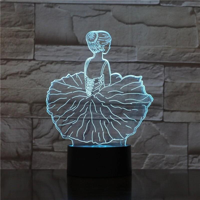Ballet Dance Girl - 3D Night Light Table Lamp