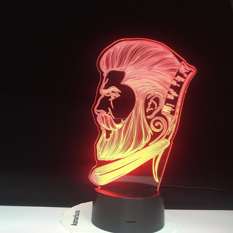 Barber Shop Business - 3D Night Light Table Lamp