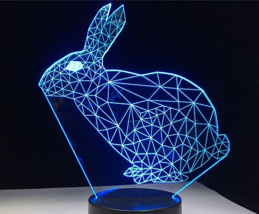 Cartoon Rabbit - 3D Night Light Table Lamp