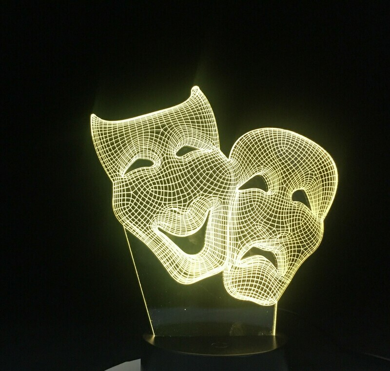 Comedy Mask - 3D Night Light Table Lamp