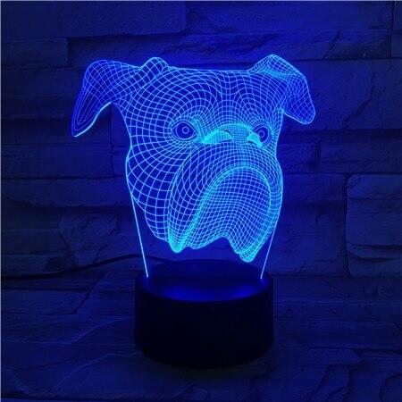 Bull Dog - 3D Night Light Table Lamp