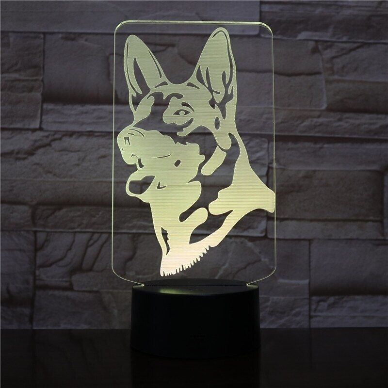 German Shepherd Dog - 3D Night Light Table Lamp
