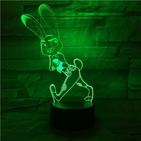 Crazy Animal City Judy - 3D Night Light Table Lamp