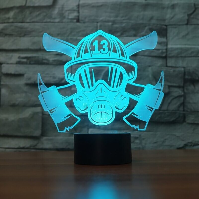 Firefighter Mask - 3D Night Light Table Lamp