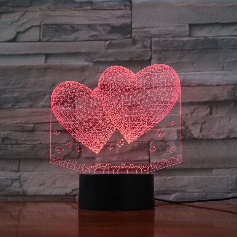 Doubles Love Hearts - 3D Night Light Table Lamp