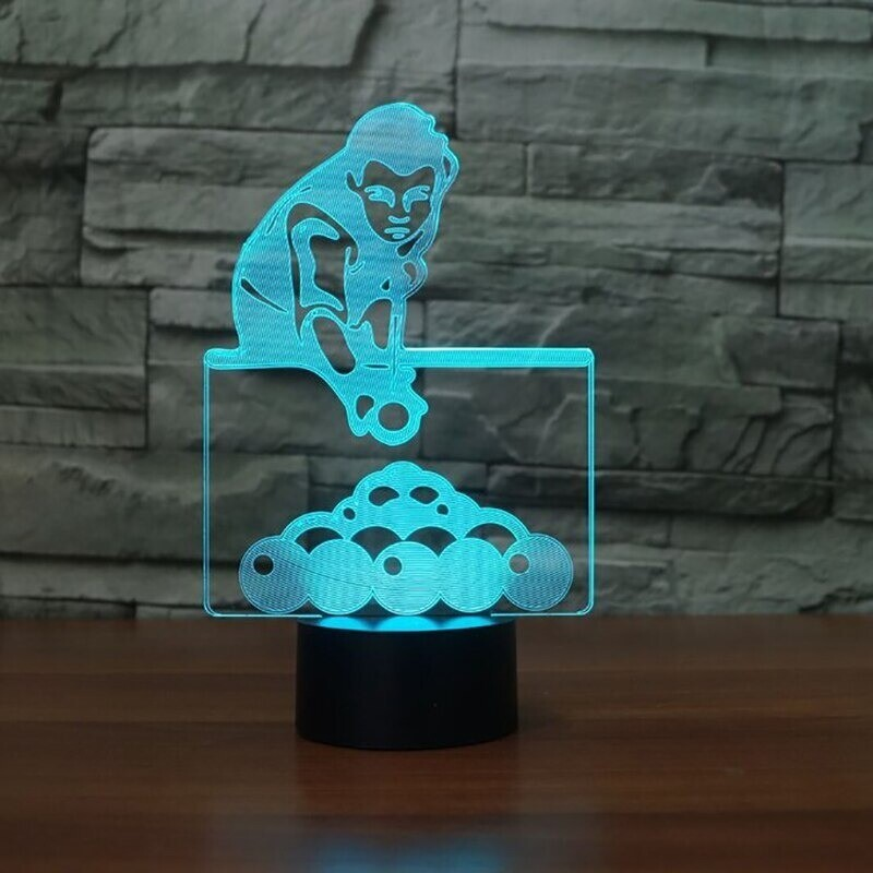 Changing Play Billiards Man - 3D Night Light Table Lamp