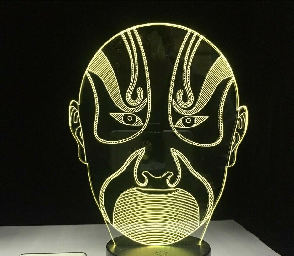 Peking Opera Male Face - 3D Night Light Table Lamp