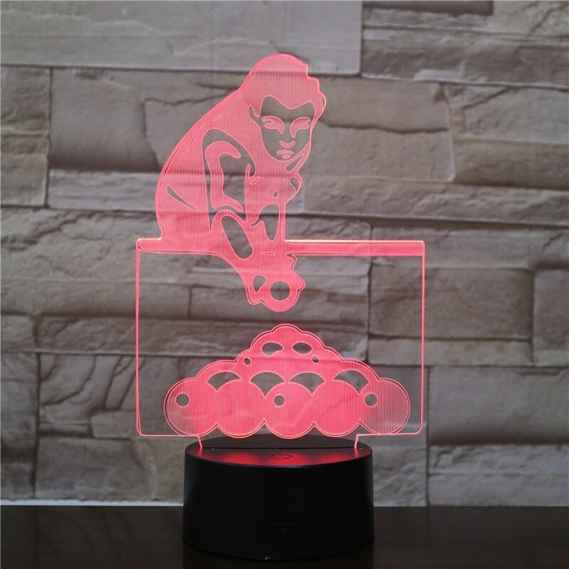 Playing Billiards - 3D Night Light Table Lamp