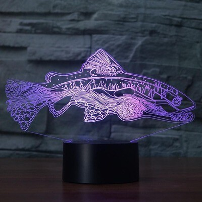 Fishing Tools Within Fish - 3D Night Light Table Lamp