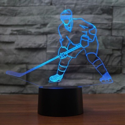Ice Hockey Player Shape - 3D Night Light Table Lamp