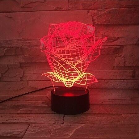 Rose Flower - 3D Night Light Table Lamp