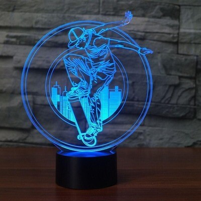 Skateboard Boy - 3D Night Light Table Lamp