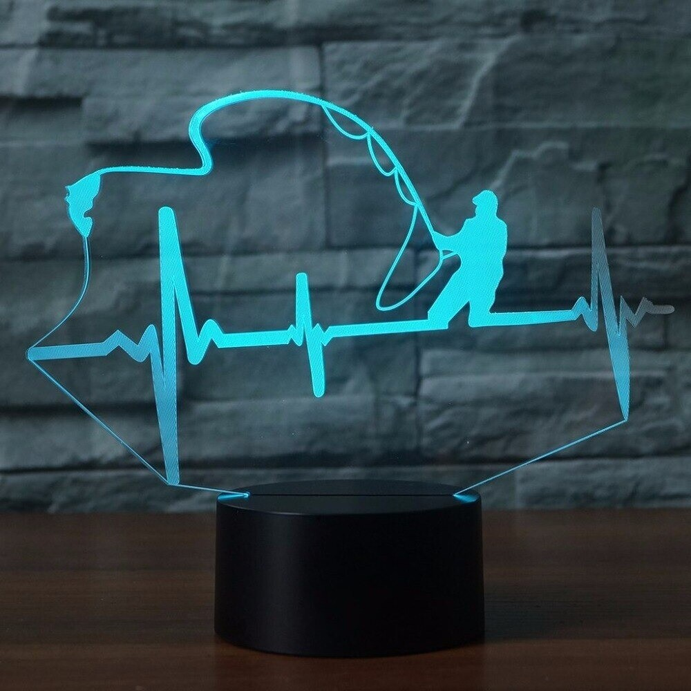 Heart Beat Shape - 3D Night Light Table Lamp