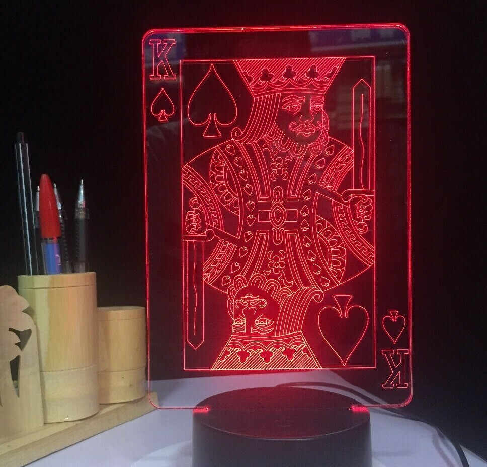 Spade K King Poker Cards - 3D Night Light Table Lamp