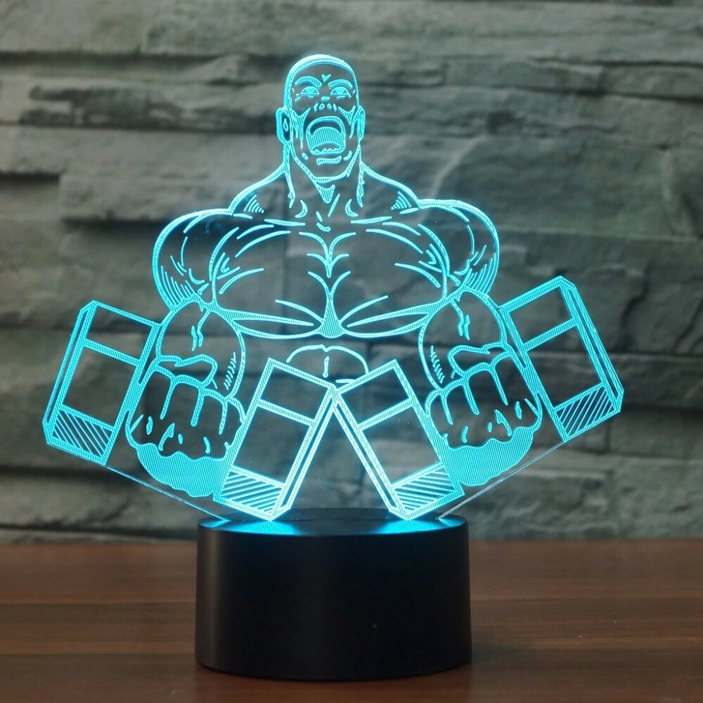 Dumbbell Muscle Man Shape - 3D Night Light Table Lamp