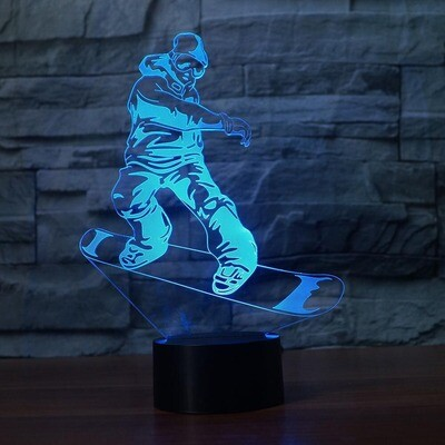 Fancy Snowboarding Modelling - 3D Night Light Table Lamp