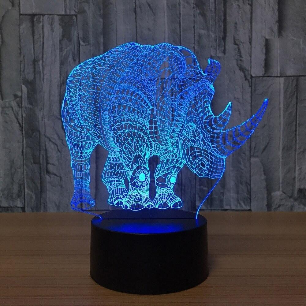 Abstract Rhino - 3D Night Light Table Lamp