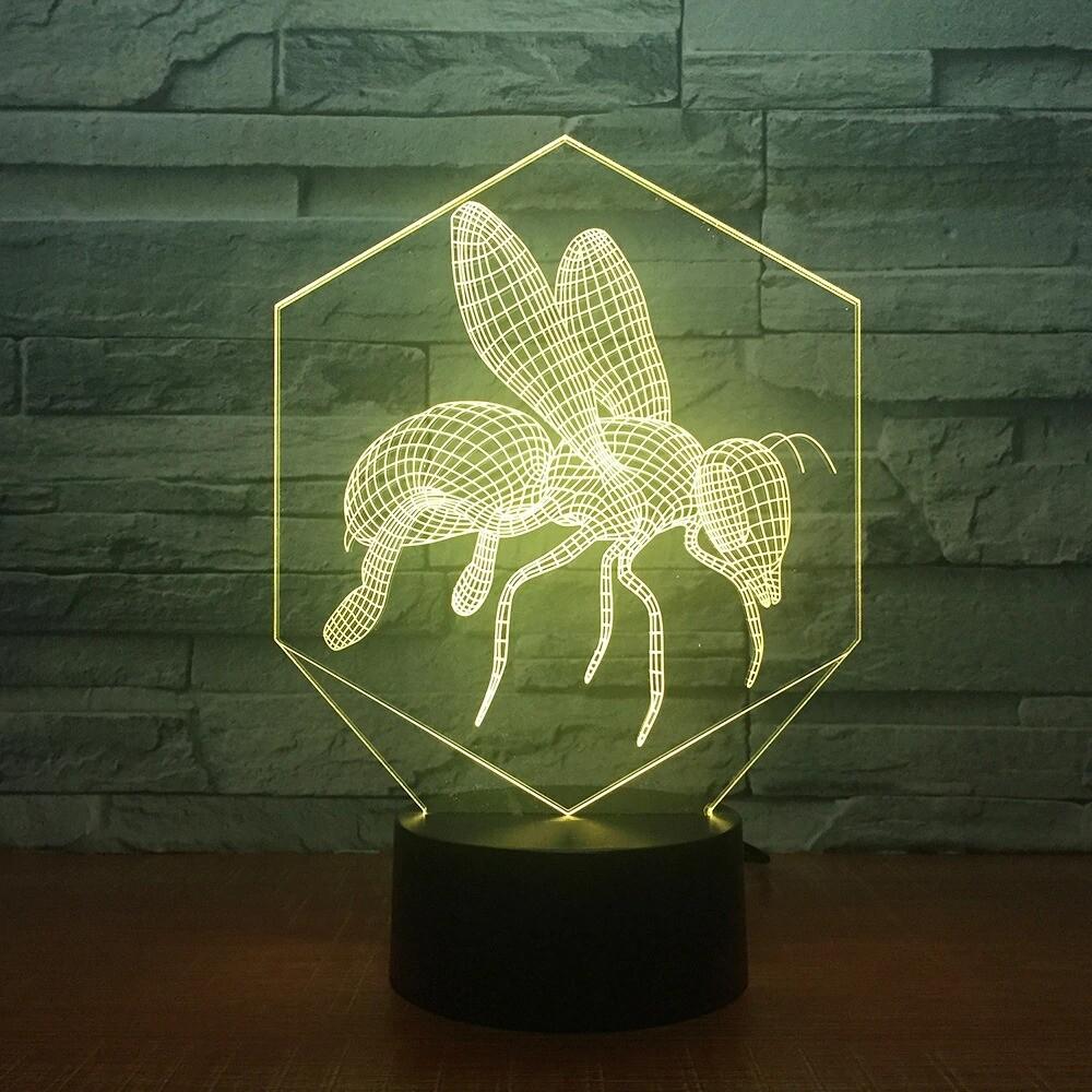 Bees Cartoon Modelling - 3D Night Light Table Lamp
