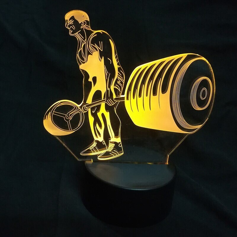 Weight Lifting - 3D Night Light Table Lamp