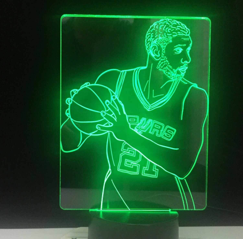 Tim Duncan 21 Basketball - 3D Night Light Table Lamp