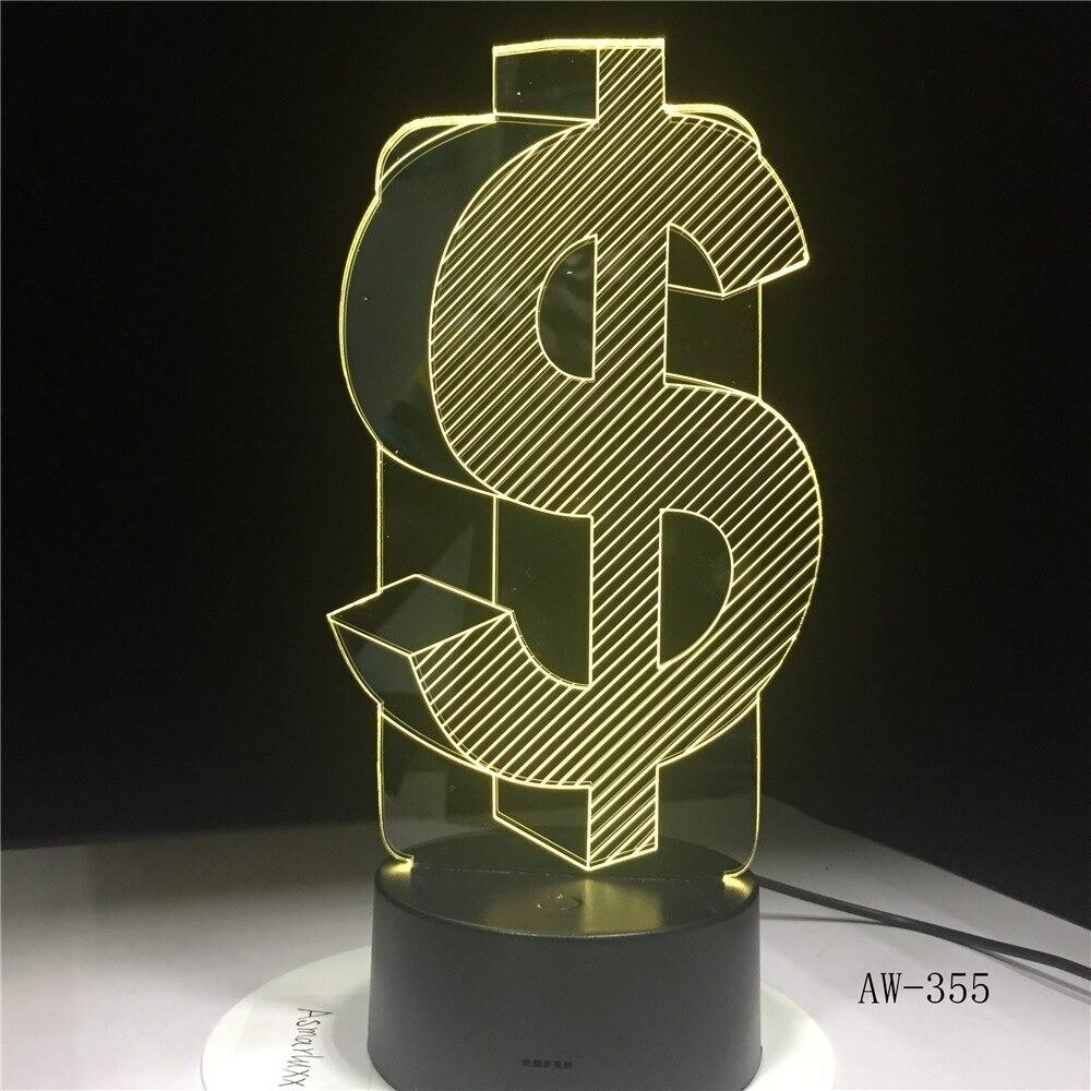 US Dollar - 3D Night Light Table Lamp