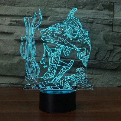 Visual Underwater Fish Ready To Catch - 3D Night Light Table Lamp