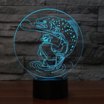 Man Catch Big Fish - 3D Night Light Table Lamp