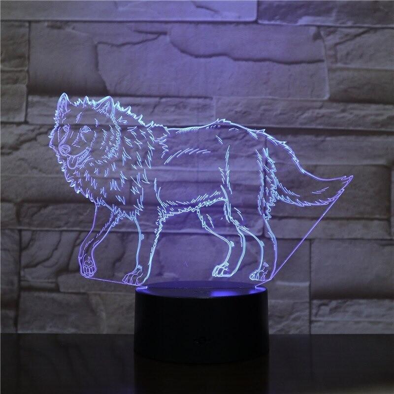 Wild Wolf Animal - 3D Night Light Table Lamp