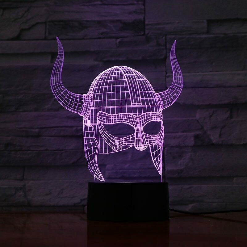 Viking Helmets - 3D Night Light Table Lamp