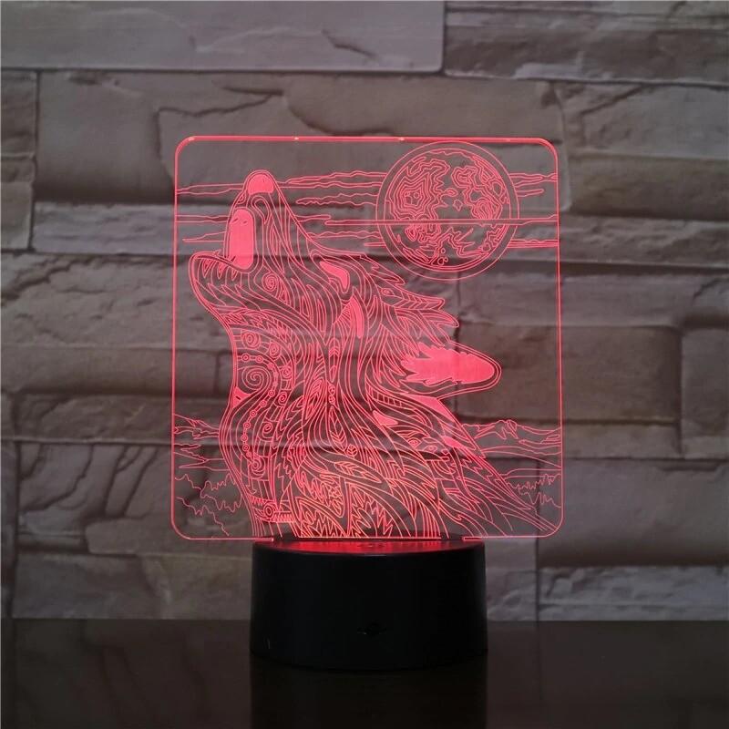 Wolf Roaring Moon - 3D Night Light Table Lamp