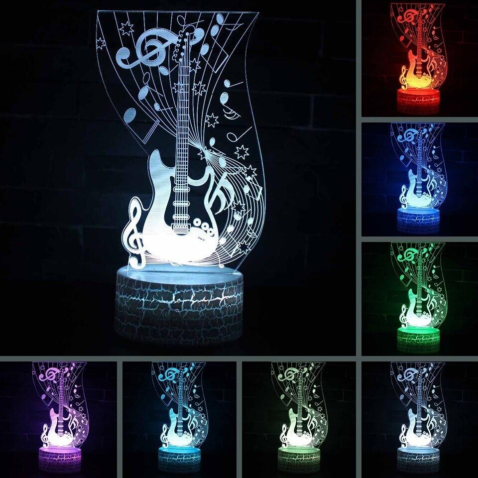 Art Music Guitar - 3D Night Light Table Lamp