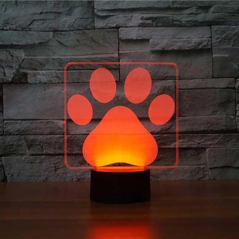 Dog Paw Modelling - 3D Night Light Table Lamp