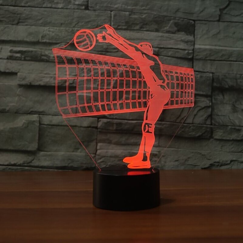 Volleyball Net Colorful Gradient - 3D Night Light Table Lamp