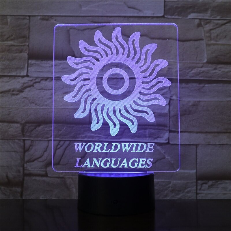 Woldwide Languages - 3D Night Light Table Lamp