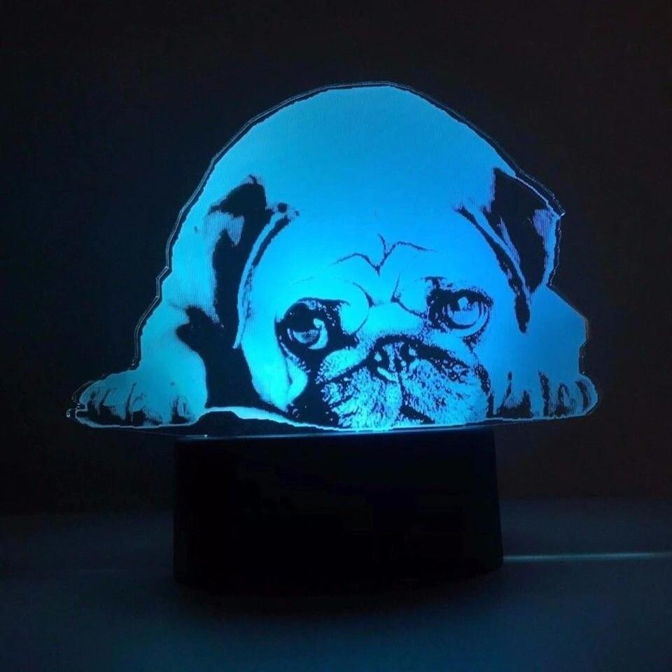 Acrylic Cute Pug Dog - 3D Night Light Table Lamp